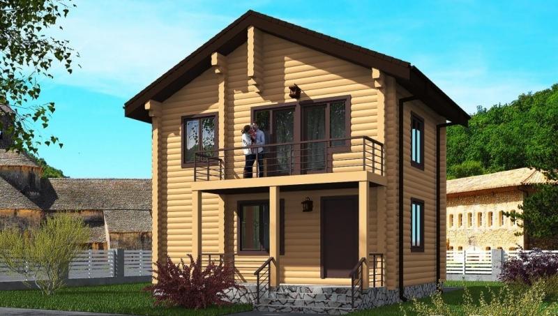 """Проект дома """"Проект 578-8"""", оцилиндрованное бревно, 77 кв.м."""
