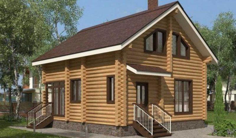 """Проект дома """"Келута"""", оцилиндрованное бревно, 56 кв.м."""