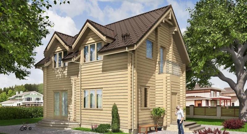 """Проект дома """"Проект 584-8"""", оцилиндрованное бревно, 128 кв.м."""