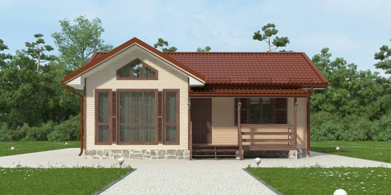 """Проект дома """"БД-112"""", профилированный брус, 56.5 кв.м."""