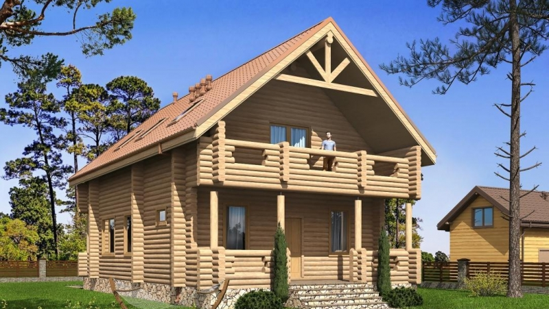 """Проект дома """"Проект 581-8"""", оцилиндрованное бревно, 143 кв.м."""