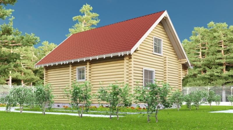"""Проект дома """"Виндзор"""", оцилиндрованное бревно, 63 кв.м."""