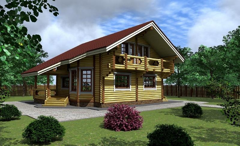 """Проект дома """"Сага"""", оцилиндрованное бревно, 90 кв.м."""