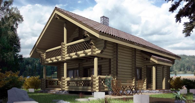 """Проект дома """"Проект ОБД-153"""", оцилиндрованное бревно, 108 кв.м."""