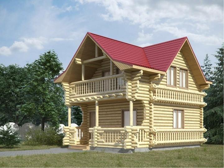 "Проект дома ""Свингс"", оцилиндрованное бревно, 35 кв.м."