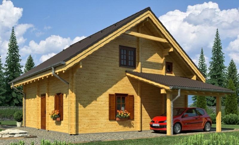 """Проект дома """"Вудкрофт"""", профилированный брус, 81 кв.м."""