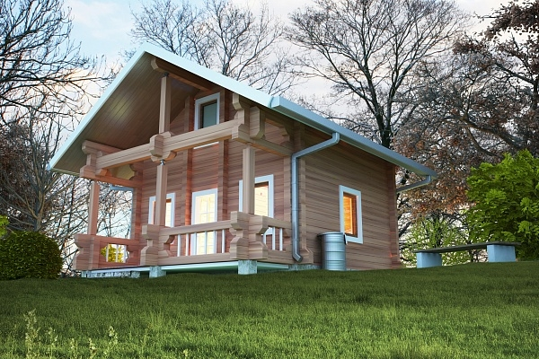 """Проект дома """"Оксвич"""", профилированный брус, 42 кв.м."""