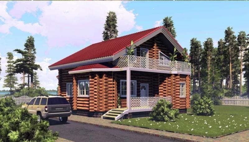 "Проект дома ""Кнопфия"", оцилиндрованное бревно, 120 кв.м."