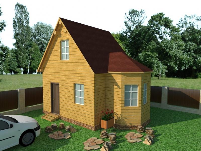 """Проект дома """"Оскар"""", профилированный брус, 43.8 кв.м."""