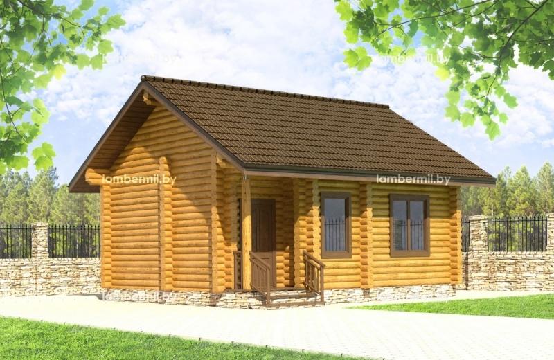 """Проект дома """"Виртус"""", оцилиндрованное бревно, 35 кв.м."""