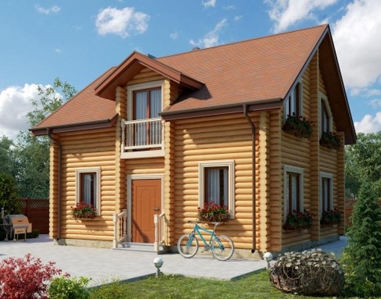 """Проект дома """"Авис"""", оцилиндрованное бревно, 72 кв.м."""
