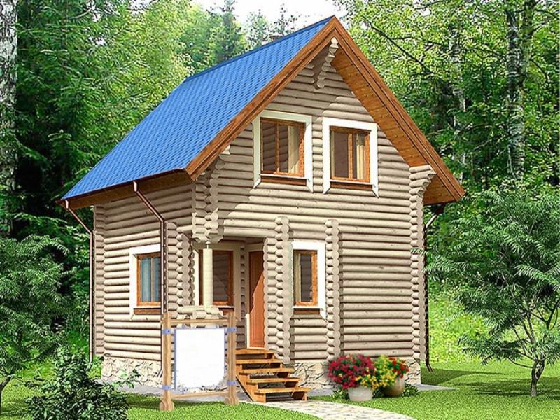 """Проект дома """"Вульф"""", оцилиндрованное бревно, 36 кв.м."""
