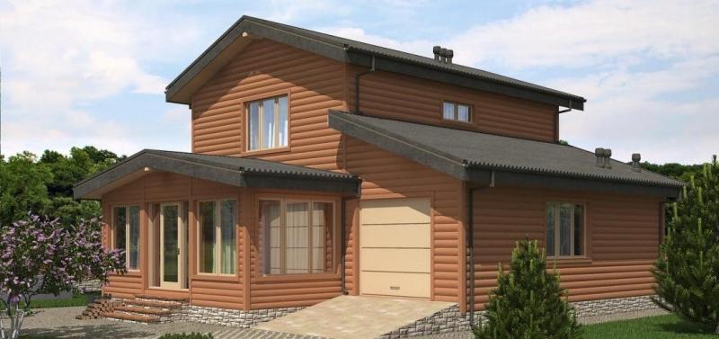 """Проект дома """"Проект 582-8"""", оцилиндрованное бревно, 148 кв.м."""