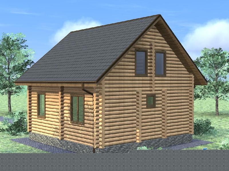 """Проект дома """"Гилдфорд"""", оцилиндрованное бревно, 49 кв.м."""