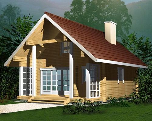 """Проект дома """"Оунас"""", профилированный брус, 43 кв.м."""