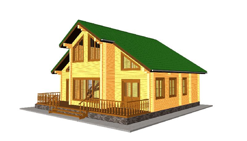 """Проект дома """"Ндола"""", профилированный брус, 140.8 кв.м."""