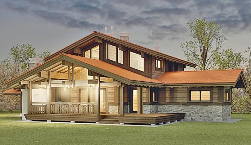"""Проект дома """"Йоэнсуу"""", оцилиндрованное бревно, 100 кв.м."""