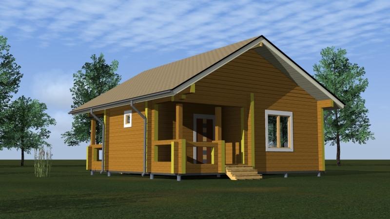 """Проект дома """"Мнемозина"""", профилированный брус, 45.69 кв.м."""