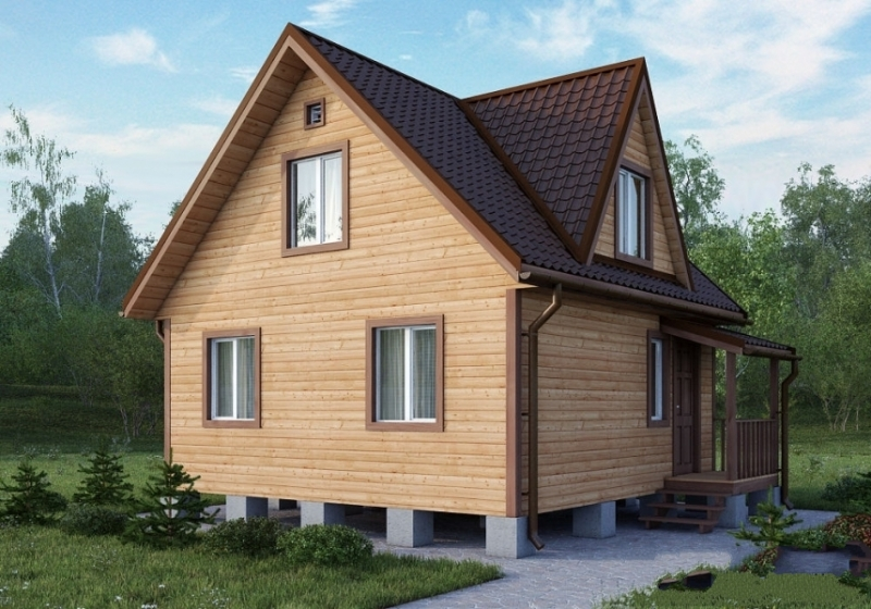 """Проект дома """"Клития"""", профилированный брус, 56.3 кв.м."""