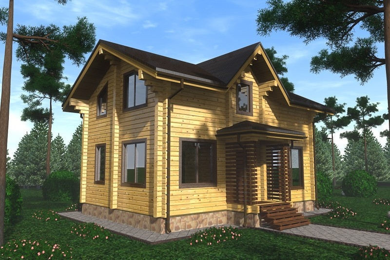 """Проект дома """"Павловия"""", профилированный брус, 99.79 кв.м."""