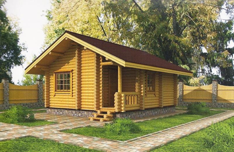 """Проект дома """"Портчестер"""", оцилиндрованное бревно, 42 кв.м."""