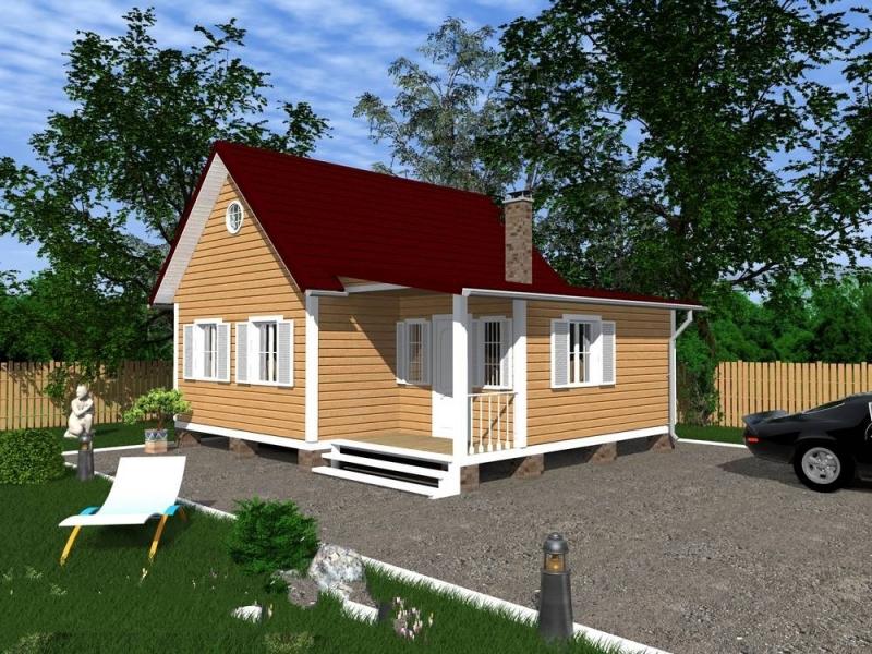 """Проект дома """"Герциния"""", профилированный брус, 44.1 кв.м."""