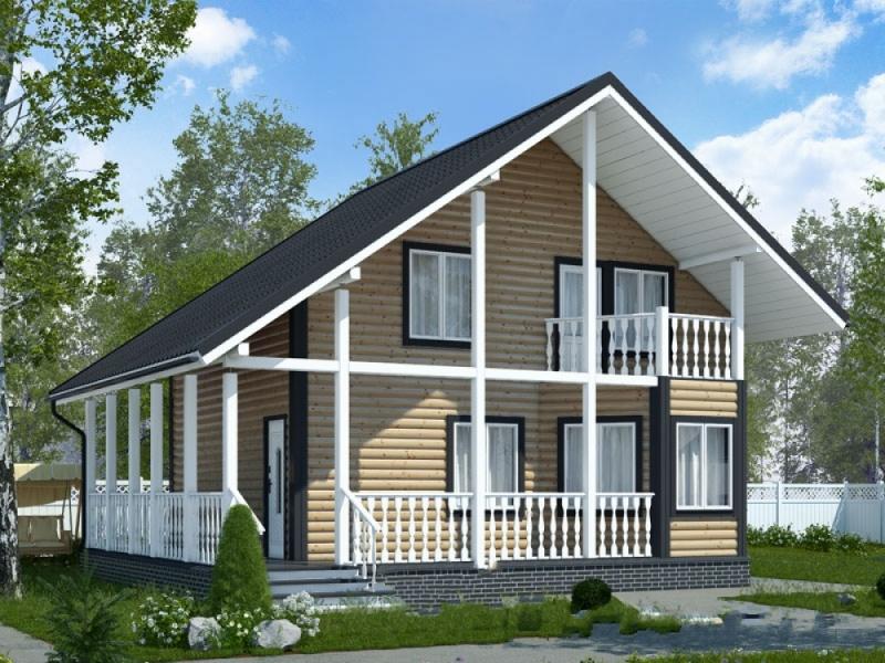 """Проект дома """"Гирундо"""", оцилиндрованное бревно, 80 кв.м."""