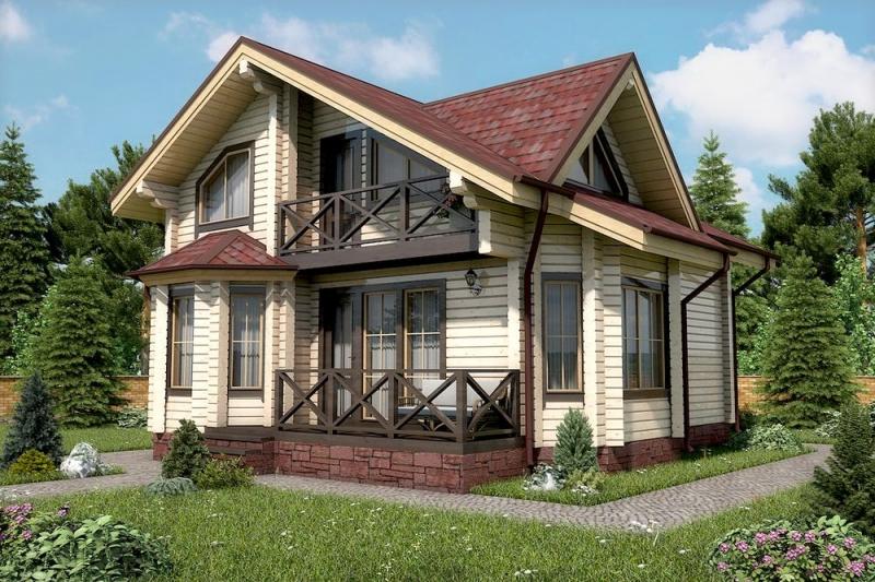 "Проект дома ""506-8"", брус камерной сушки, 120 кв.м."