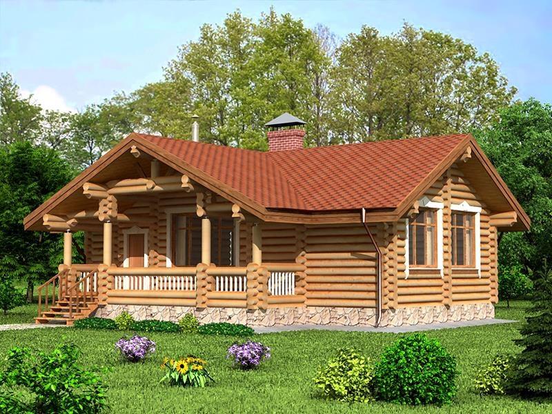 "Дом из оцилиндрованного бревна ""Проект ОБД-140"", 99 кв.м."