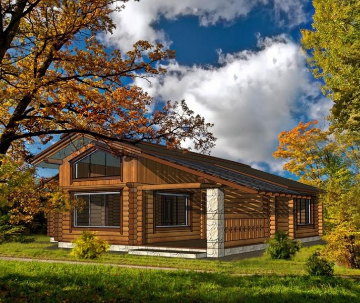 "Проект дома ""Шеплия"", оцилиндрованное бревно, 121 кв.м."