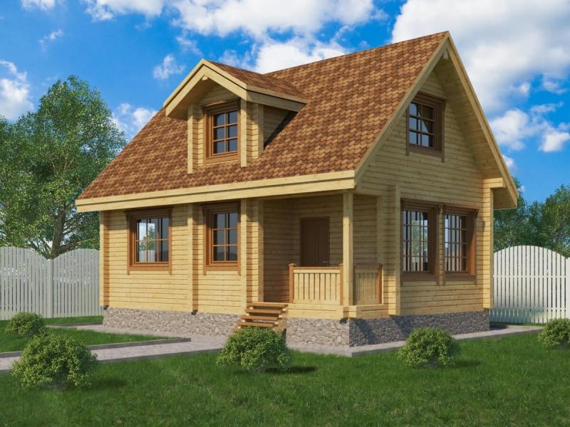 """Проект дома """"Альнитак"""", профилированный брус, 56.1 кв.м."""