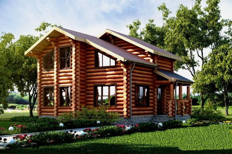 """Проект дома """" Конкордия"""", оцилиндрованное бревно, 72 кв.м."""